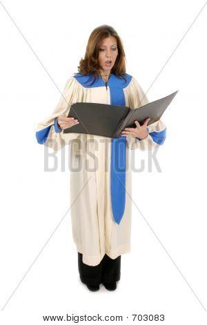 Woman In Church Robe Singing 2