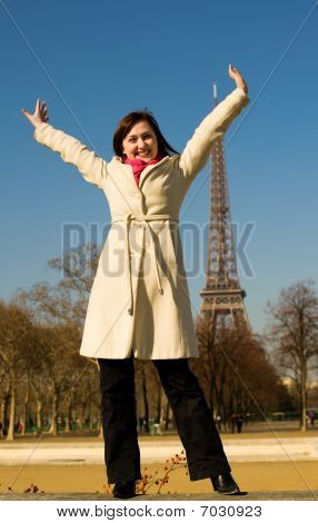 Happy Beautiful Woman Having Fum In Paris