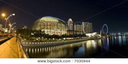 Panoramic view of Singapore City Evening Skyline