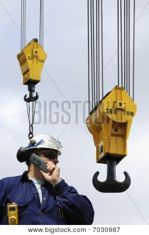 construction worker and hooks