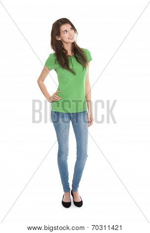 Slim Young Woman Wearing Green Shirt And Blue Jeans In Full Body Length Looking Happy And Satisfied