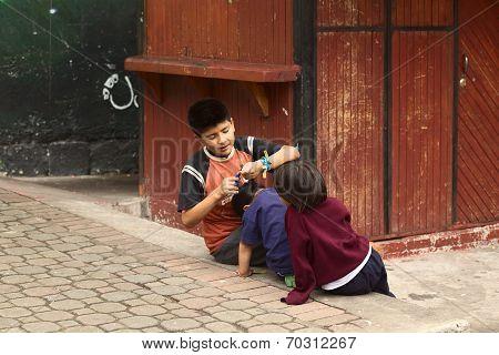 Children in Banos, Ecuador