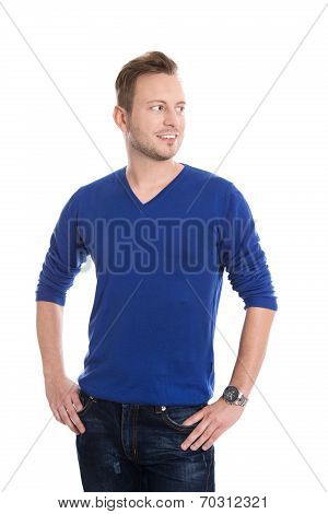 Isolated Young Blond Man In Blue Pullover Looking Sideways To Text.