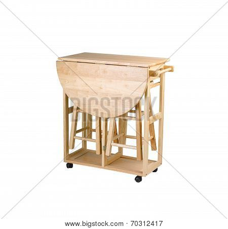Folding and movable wooden table with stools