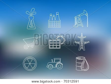 Outline industrial icons set