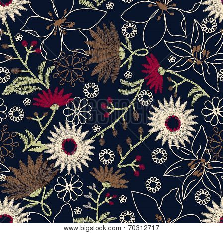 Tropical Embroidery Floral Design In A Seamless Pattern