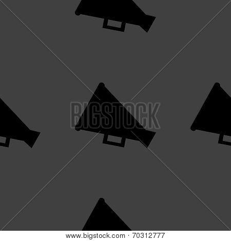 Megaphone, Loud-hailer web icon. flat design. Seamless gray pattern.