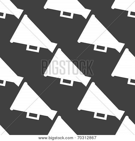 Megaphone, Loud-hailer web icon. flat design. Seamless gray pattern.