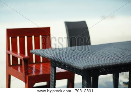 Empty Table On The Beach, Depth Of Field