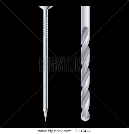 Drill bit and steel nail