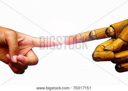 Hand With Forefinger Pointing With Wooden Forefinger  Hand With Light Come Out From Contract Point