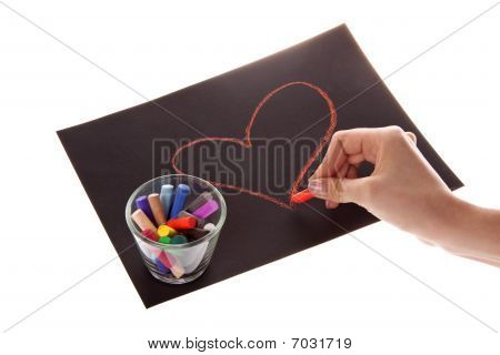 Heart On Paper On White Background