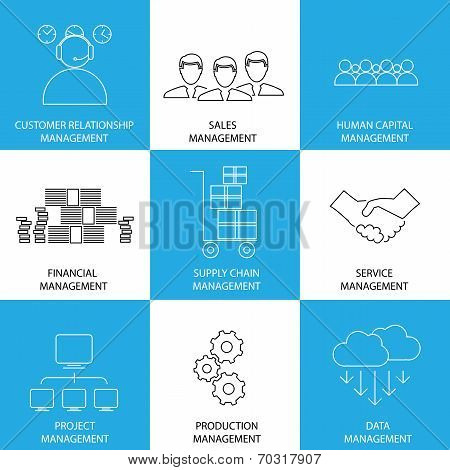 Flat Line Icons Of Management Of Finance, Sales, Service