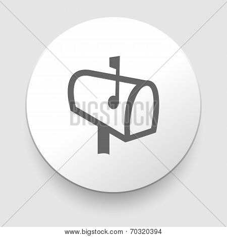 Mail postbox on pole with flag vector