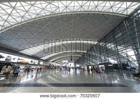 CHENGDU, CHINA - JUNE 4, 2014: Chengdu Shuangliu International Airport check in lobby interior. The airport is the busiest in western and central China.