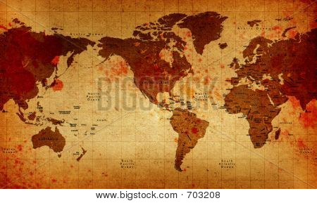 Old America Centered Bloody World Map