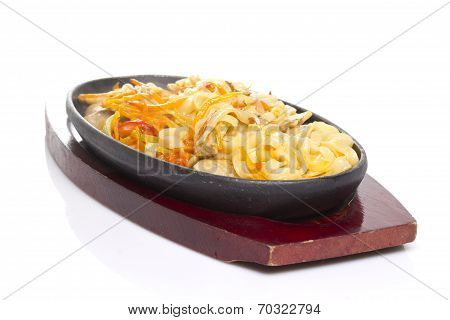 Asian Thai Udon Noodles With Vegetables Isolated On White Background