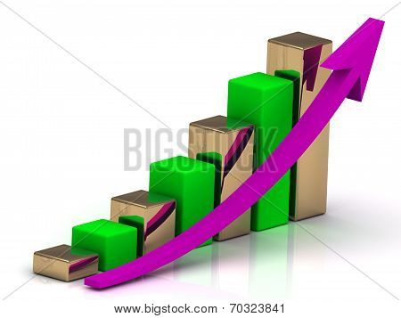 Business Graph Of Silver And Golden Bars