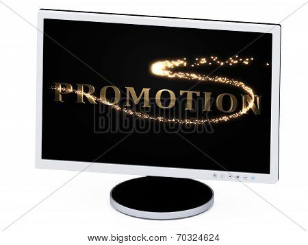 Promotion 3D Inscription With Luminous Spark On Screen