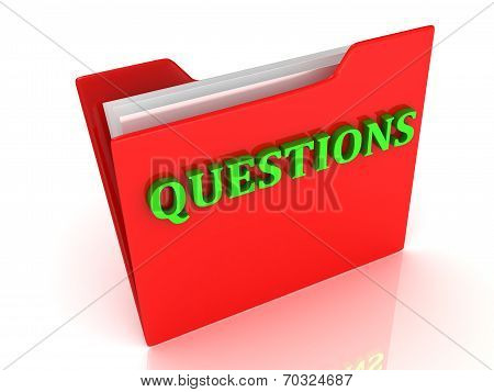 Questions Bright Green Letters On A Red Folder