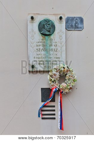Memorial Plaque Of Stanko Vraz In Zagreb, Croatia