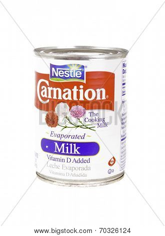 West Point - August 17, 2014: Can of Carnation brand Evaporated milk with vitamin D added