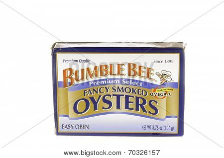 West Point - August 17, 2014: Can of Bumble Bee brand fancy Smoked oysters