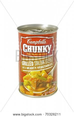 West Point - August 17, 2014: Can of Campbell's Chunky Grilled Sirloin steak with hearty vegetables