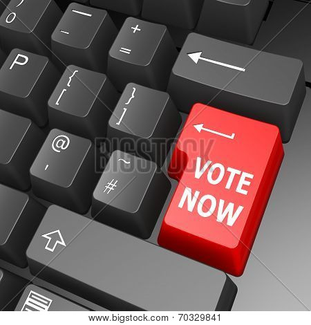 Vote Now Key On Computer Keyboard