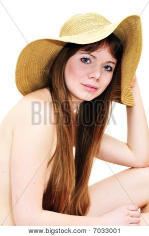 Girl Wearing Only Hat