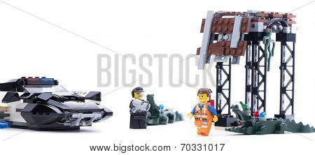 Ankara, Turkey - March 15, 2014 : Studio shot of Lego Movie Bad Cop's Pursuit isolated on white background.