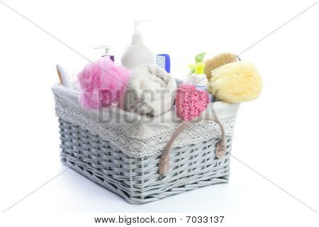 Bath Toiletries Basket With Shower Gel
