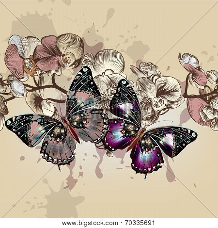 Fashion Vector Seamless Pattren With Butterflies