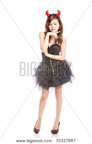 Chinese Woman In Black Dress And Devil Horns