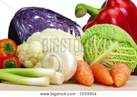 Selection Of Organic Vegetables Isolated On White Background