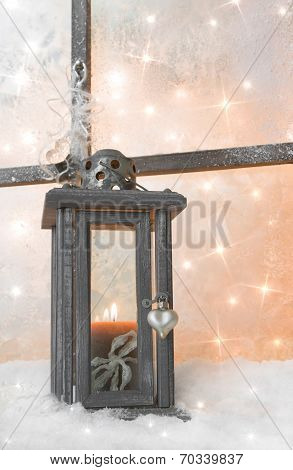 Close Up Of Wooden Lantern On Window Sill For A Christmas Greeting Card