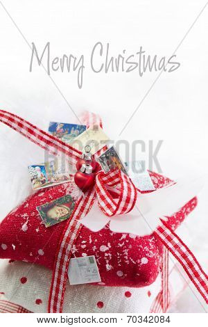 Classic Christmas Decoration In White And Red Checked - Idea For A Greeting Card