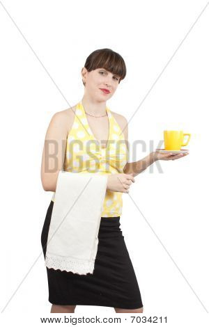 Bartender Girl With A Cup Of Tea