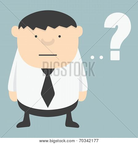 Obese Businessman  With Question Mark