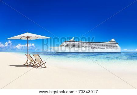 3D Cruise Ship by a Beach