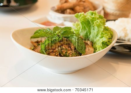Minced Grilled Pork Spicy Salad