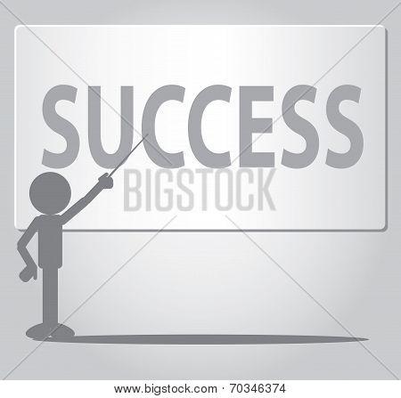 Flat Man Success Concept