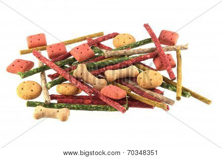 Assorted Shaped Dog Biscuits And Chews.