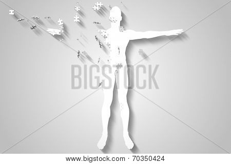 Digitally generated White jigsaw body breaking up