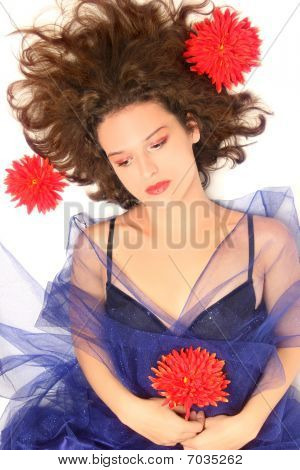 Beautiful Melancholic Young Woman.