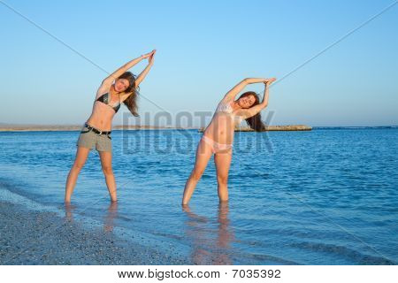 Girls Doing Against Sea