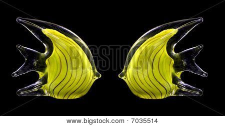 Two yellow glass stripped fish