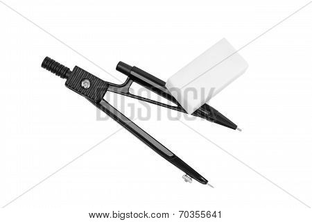 Black Drafting Drawing Compass And White Eraser