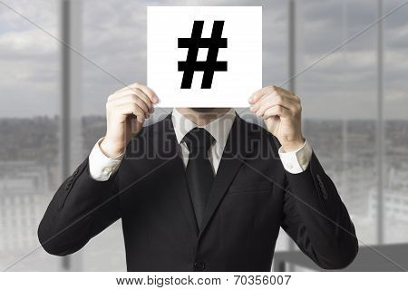 Businessman Hiding Face Hash Symbol Tag