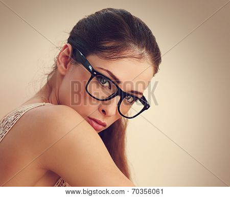 Sexy Successful Female Model In Fashion Glasses Looking. Closeup Vintage Portrait